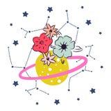 Pianeta sveglio del fumetto con il vettore di clipart della decorazione delle stelle e del fiore Fotografia Stock