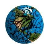 Pianeta tagliato terra incrinata 3D del globo Fotografie Stock