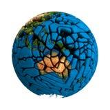 Pianeta tagliato terra incrinata 3D del globo Fotografia Stock