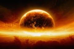 Pianeta Terra bruciante e d'esplosione Immagini Stock