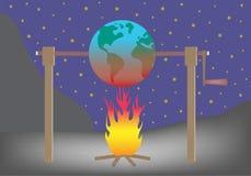 Pianeta Terra che arrostisce sopra il concetto di riscaldamento globale del fuoco Fotografia Stock Libera da Diritti