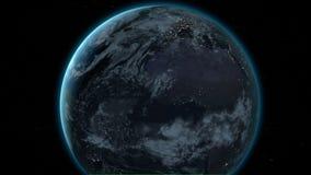 Pianeta Terra come visto da spazio Con il fondo delle stelle Animazione realistica 3D royalty illustrazione gratis