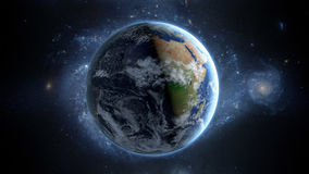 Pianeta Terra come visto da spazio Con il fondo delle stelle rappresentazione 3d Fotografia Stock