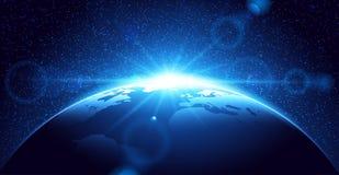 Pianeta Terra con alba Fotografia Stock Libera da Diritti