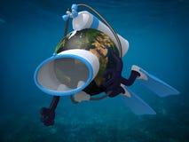 Pianeta Terra con gli occhiali di protezione e le alette di immersione subacquea illustrazione di stock