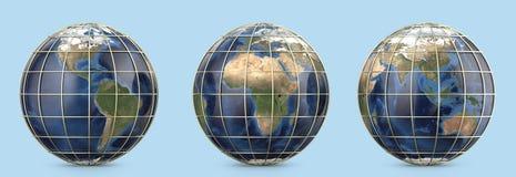 Pianeta Terra con la maglia dell'oro Mostra dell'America, continente di Europa, Africa, Asia, Australia Immagini Stock Libere da Diritti