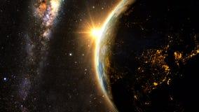Pianeta Terra con un tramonto spettacolare Fotografia Stock
