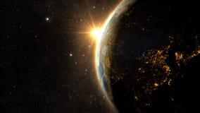 Pianeta Terra con un tramonto spettacolare Fotografia Stock Libera da Diritti