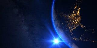 Pianeta Terra con un tramonto spettacolare, la vista su U.S.A. ed il Canada Immagini Stock