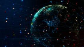 pianeta Terra 3D nella rete cyber globale con il cryptocurrency intorno al globo Fotografia Stock