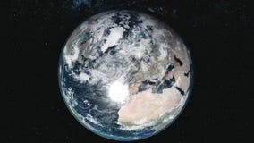Pianeta Terra del grafico di moto contro la Via Lattea nello spazio nero illustrazione di stock