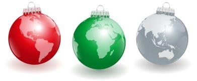 Pianeta Terra delle palle dell'albero di Natale Immagine Stock