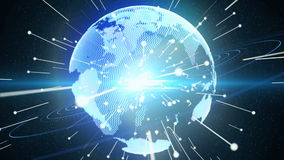 Pianeta Terra e collegamenti blu Fotografia Stock