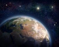 Pianeta Terra e stelle illustrazione vettoriale
