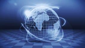 Pianeta Terra futuristico dell'ologramma Concetto di successo di affari Animazione cyber del ciclo Globo 3d della terra con tecno illustrazione vettoriale