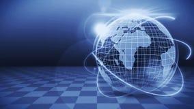 Pianeta Terra futuristico dell'ologramma Concetto di successo di affari Animazione cyber del ciclo Globo 3d della terra con tecno royalty illustrazione gratis