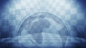 Pianeta Terra futuristico dell'ologramma Concetto di successo di affari Animazione cyber del ciclo Globo 3d della terra con tecno illustrazione di stock