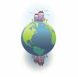 Pianeta Terra. Giorno e notte ai pali illustrazione vettoriale