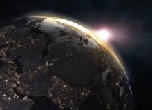 Pianeta Terra realistico nello spazio Fotografie Stock Libere da Diritti