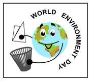 Pianeta Terra stilizzato, fumetto, piano, immondizia, Giornata mondiale dell'ambiente illustrazione di stock