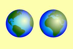 Pianeta Terra sull'illustrazione bianca di vettore del fondo Fotografia Stock