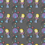 Pianeta, UFOs e stelle nello spazio della galassia Immagine Stock Libera da Diritti