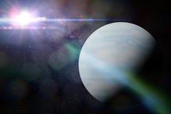 Pianeta Urano davanti a molte stelle ed alla galassia della Via Lattea Fotografie Stock Libere da Diritti