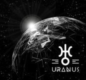 Pianeta Urano sotto forma di elementi poligonali della maglia sotto forma di linee e di punti Il pianeta in astrologia è Fotografia Stock Libera da Diritti