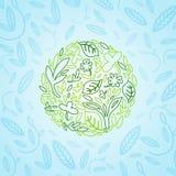 Pianeta verde dagli elementi e dai motivi della pianta Fotografie Stock