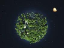 Pianeta verde nello spazio cosmico illustrazione vettoriale