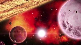 Pianeti davanti alle nebulose rosse ardenti nello spazio profondo Collezione di arte dello spazio ciclo royalty illustrazione gratis