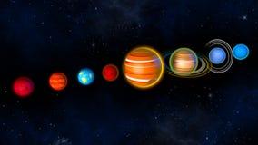Pianeti del sistema solare rappresentazione 3d Fotografie Stock Libere da Diritti