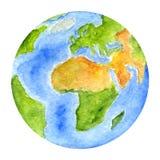 Pianeti del sistema solare - terra Illustrazione dell'acquerello Immagini Stock