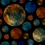 Pianeti dell'acquerello di fantasia su fondo nero Fotografie Stock Libere da Diritti