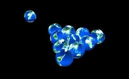 Pianeti della terra come sfere di biliardo Immagini Stock