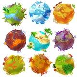 Pianeti della terra del fumetto messi illustrazione vettoriale