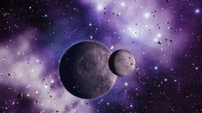 Pianeti delle asteroidi e filo di ordito dello spazio illustrazione di stock