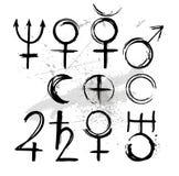 Pianeti di simbolo verniciati con vernice illustrazione vettoriale