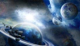 Pianeti e meteoriti nello spazio Fotografia Stock Libera da Diritti