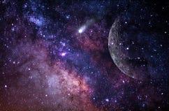 Pianeti, galassia, universo, cielo notturno stellato, galassia della Via Lattea con le stelle e polvere nell'universo, fotografia fotografia stock