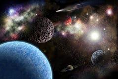 Pianeti nello spazio fra le stelle illustrazione di stock