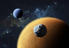 Pianeti o exoplanets Extrasolar con la luna Immagine Stock
