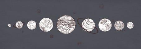 Pianeti organizzati nella fila contro fondo scuro Colori monocromatici assorbiti solari del sistema planetario Corpi celesti dent illustrazione vettoriale