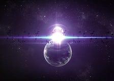 Pianeti sopra le nebulose nello spazio illustrazione vettoriale