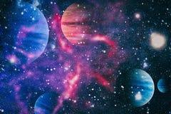 Pianeti, stelle e galassie nello spazio cosmico che mostra la bellezza di esplorazione spaziale Elementi ammobiliati dalla NASA fotografia stock libera da diritti