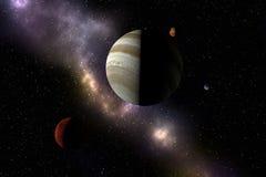 Pianeti, stelle e nebulosa sconosciuti nello spazio cosmico Explorat dello spazio illustrazione di stock
