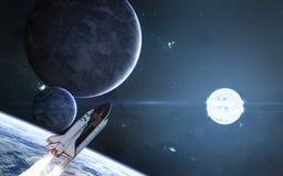Pianeti su fondo della stella blu Spazio profondo, navetta spaziale La fantascienza illustrazione di stock