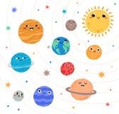 Pianeti svegli del sistema solare con i fronti felici Oggetti celesti divertenti nello spazio cosmico Enti astronomici graziosi illustrazione vettoriale