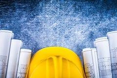 Piani architettonici della costruzione con costruzione Fotografie Stock