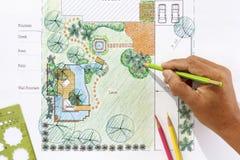 Piani del giardino dell'acqua di progettazione dell'architetto paesaggista Immagine Stock